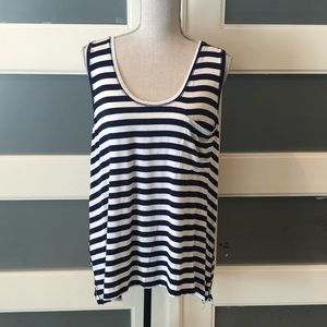 Navy and white striped pocket tank